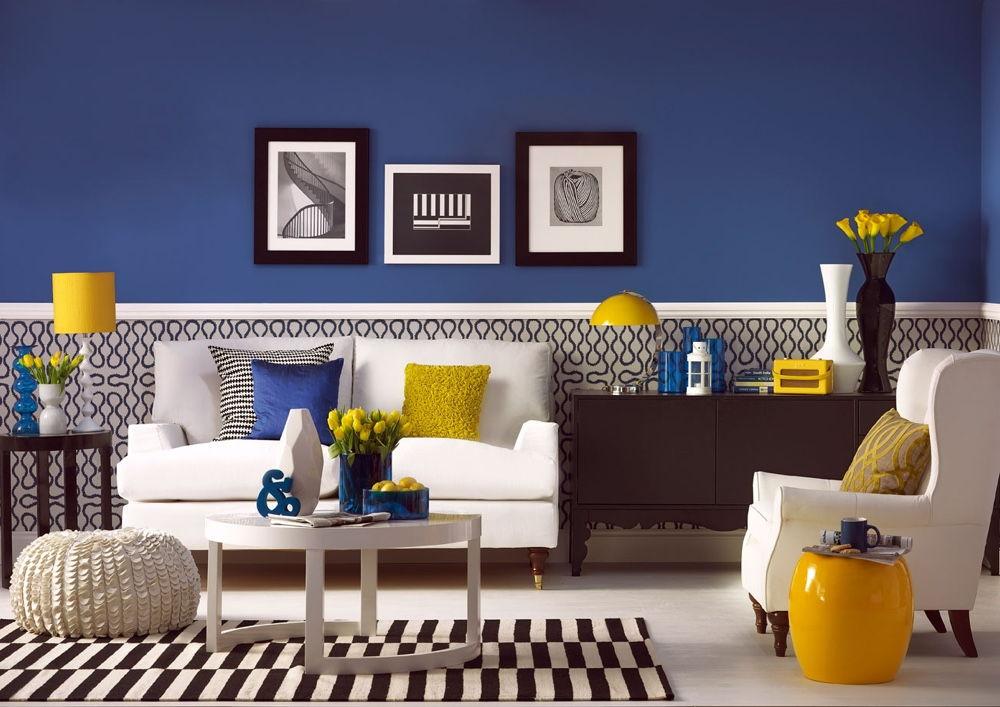 Оформление квартиры в синем цвеет