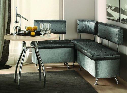 Угловой диван на кухню с обивкой из экокожи