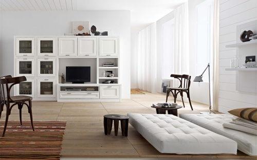Светлый интерьер гостиной в современном стиле